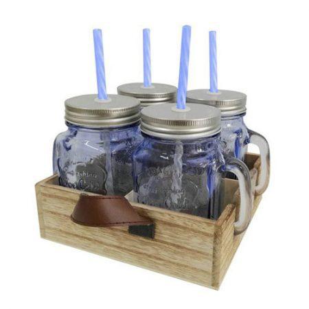 סט כוסות קש במגש עץ – לוניטק