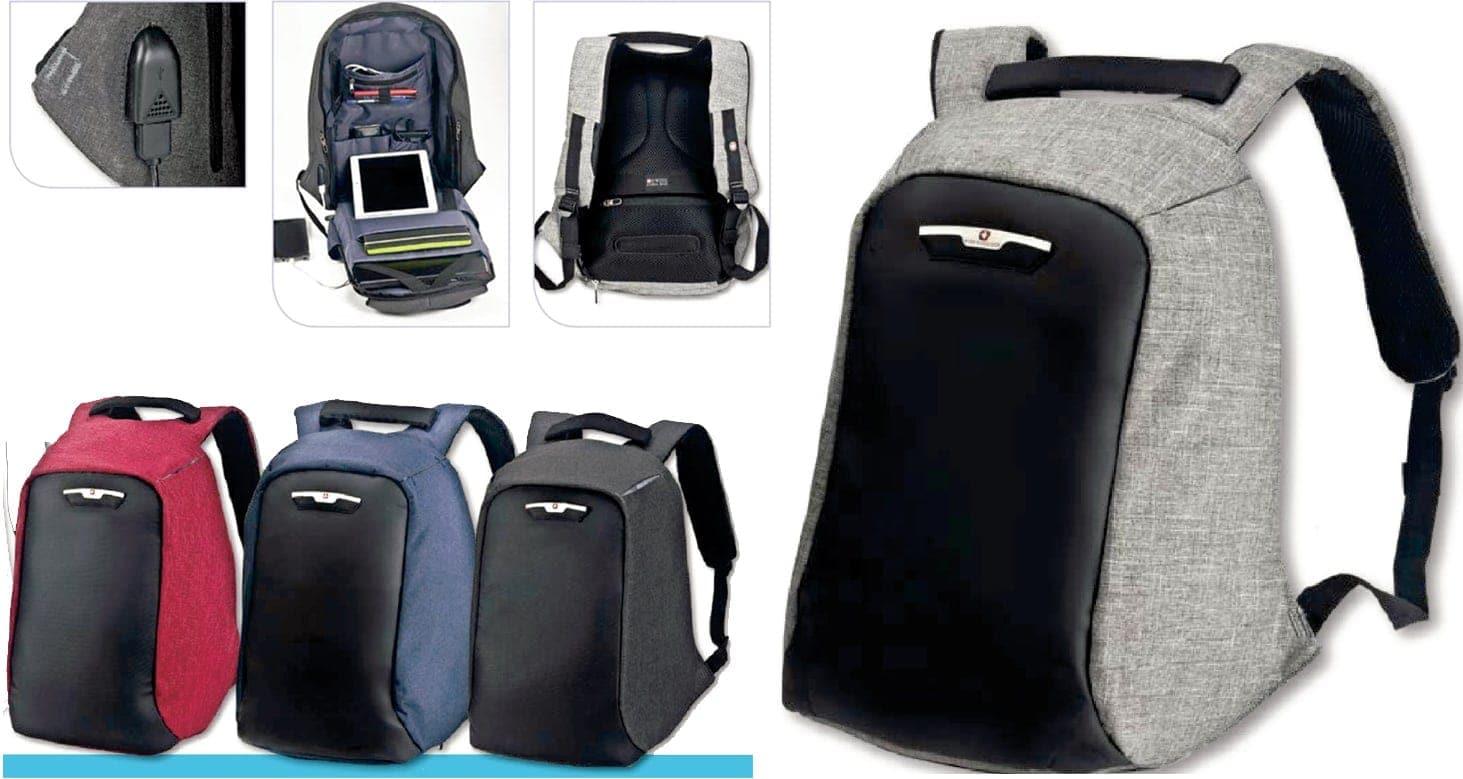 תיק גב מוגן גניבות SWISS GLOBAL BAGS – שחור – לוניטק