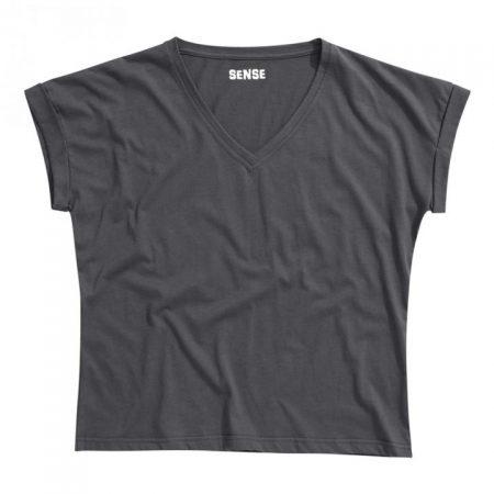 חולצת טריקו נשים עטלף -צווארון V אפור פחם_127