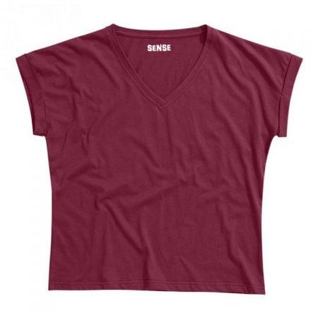 חולצת טריקו נשים עטלף -צווארון V בורדו_74