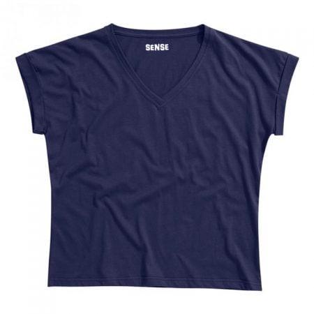 חולצת טריקו נשים עטלף -צווארון V כחול נייבי_89