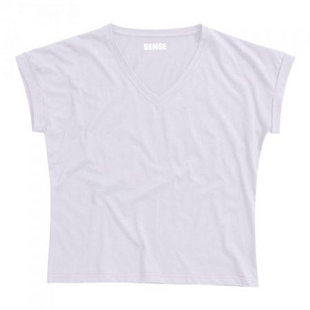 חולצת טריקו נשים עטלף -צווארון V לבן_132