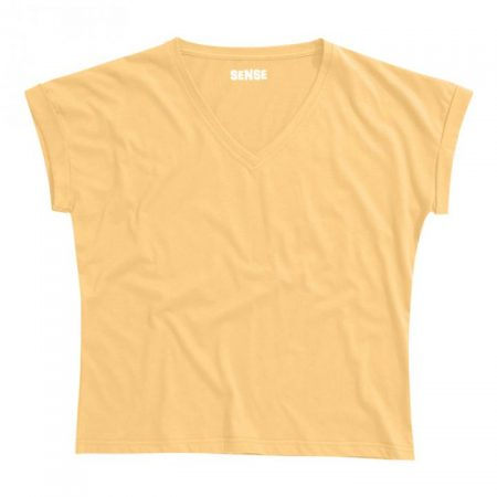 חולצת טריקו נשים עטלף -צווארון V צהוב בננה_95