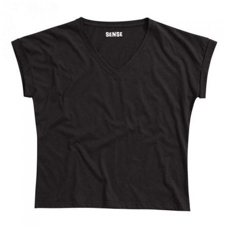 חולצת טריקו נשים עטלף -צווארון V שחור_88