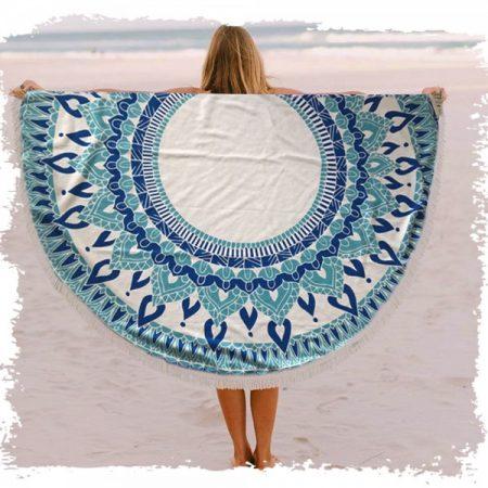 מגבת עגולה מנדלה כחול בים