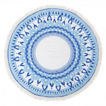 מגבת עגולה מנדלה כחול