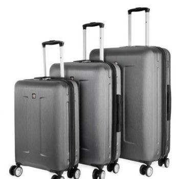 3 מזוודות סוויס קל אפור
