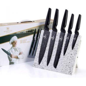 סט 5 סכינים ען מעמד עץ מגנטי
