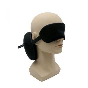 כרית נסיעות מתקפלת עם כיסוי עיניים מחובר ראשית